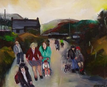 Gill Watkiss Original Oil Painting Scene At Stenalees In Cornwall